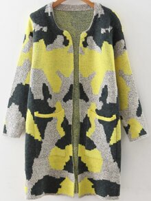 Yellow Camouflage Pattern Long Cardigan With Pockets