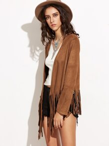 Brown Faux Suede Open Front Fringe Jacket