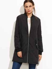 Black Quilted Padded Coat With Zip Detail