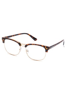 Leopard Print Open Frame Gold Trim Glasses