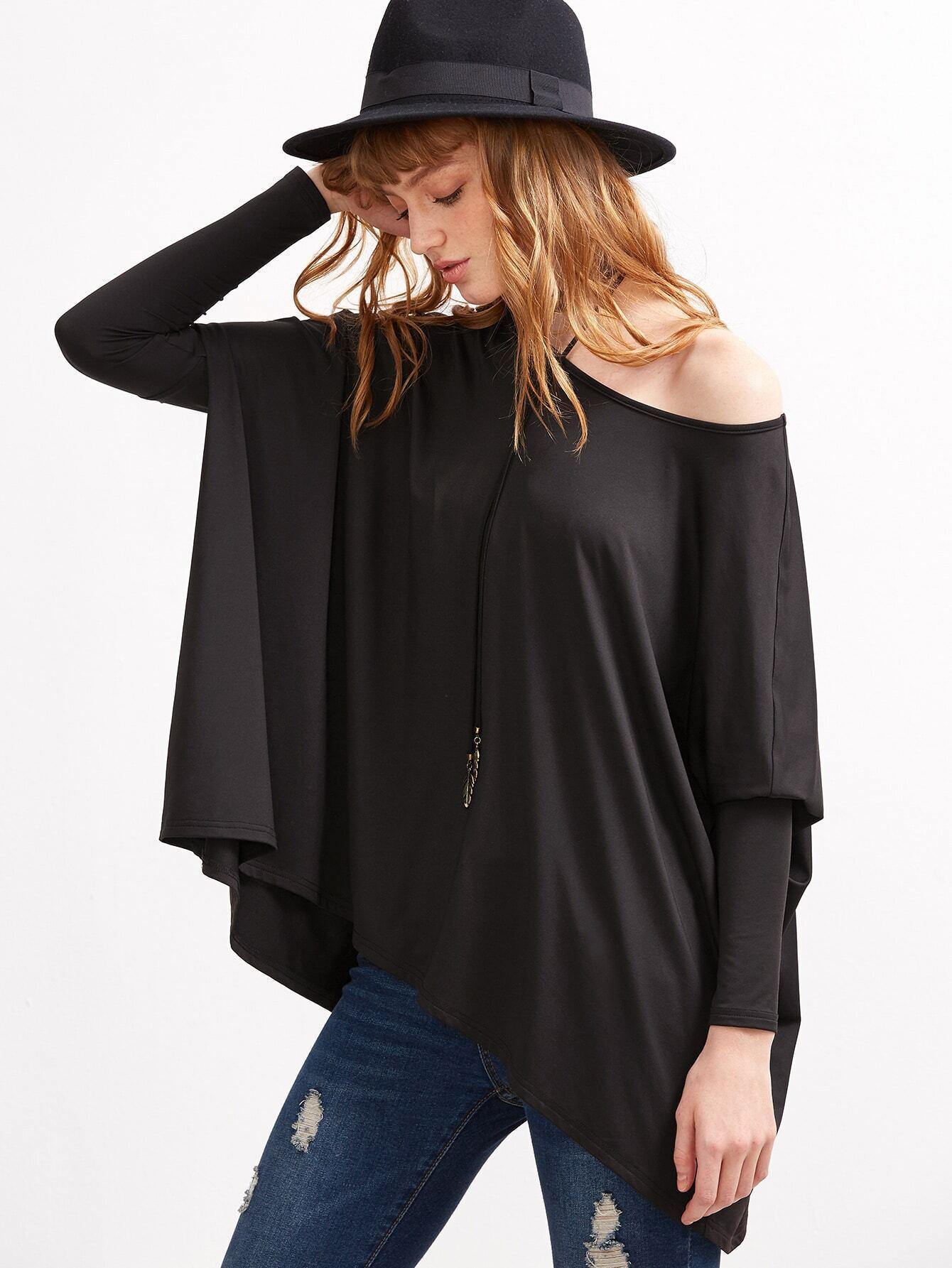 Oversized black t shirt - Black Boat Neck Oversized Dolman Sleeve T Shirt Pictures