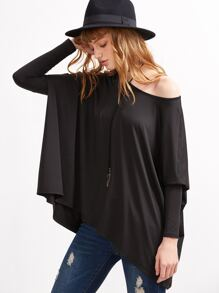Black Boat Neck Oversized Dolman Sleeve T-shirt