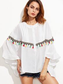 White Embroidered Tape And Tassel Trim Dolman Sleeve Blouse