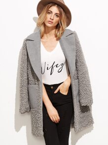 Grey Mixed Media Fluffy Coat With Pocket