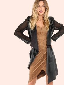 Faux Leather Contrast Chiffon Sleeve Suede Lapel Coat BLACK