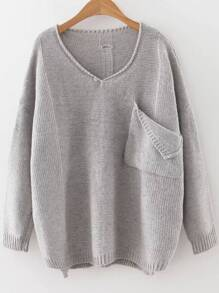Grey V Neck Ripped Dip Hem Sweater With Pocket