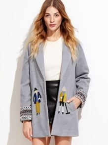 Heather Grey Drop Shoulder Embroidered Coat