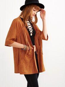 Camel Faux Suede Half Sleeve Fringe Coat