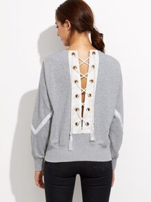 Grey Lace Up Back Drop Shoulder Stripe Sweatshirt