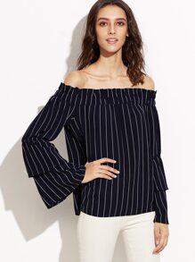 Navy Pinstripe Off The Shoulder Layered Bell Sleeve Top