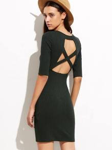 Olive Green Cutout Crisscross Back Ribbed Sheath Dress
