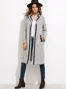 Grey Contrast Panel Chevron Pattern Tweed Coat