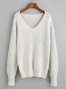 Light Grey V Neck Drop Shoulder Sweater