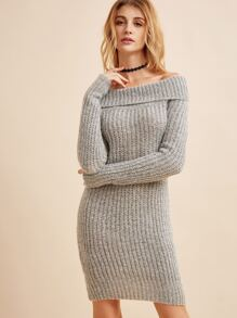Grey Off The Shoulder Fold Over Ribbed Knit Pencil Dress