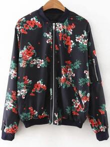 Black Floral Print Bomber Jacket With Zipper