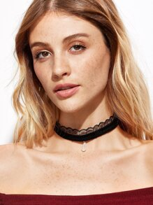 Black Velvet Lace Faux Pearl Choker Necklace
