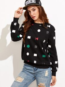 Black Media Player Button Print Sweatshirt