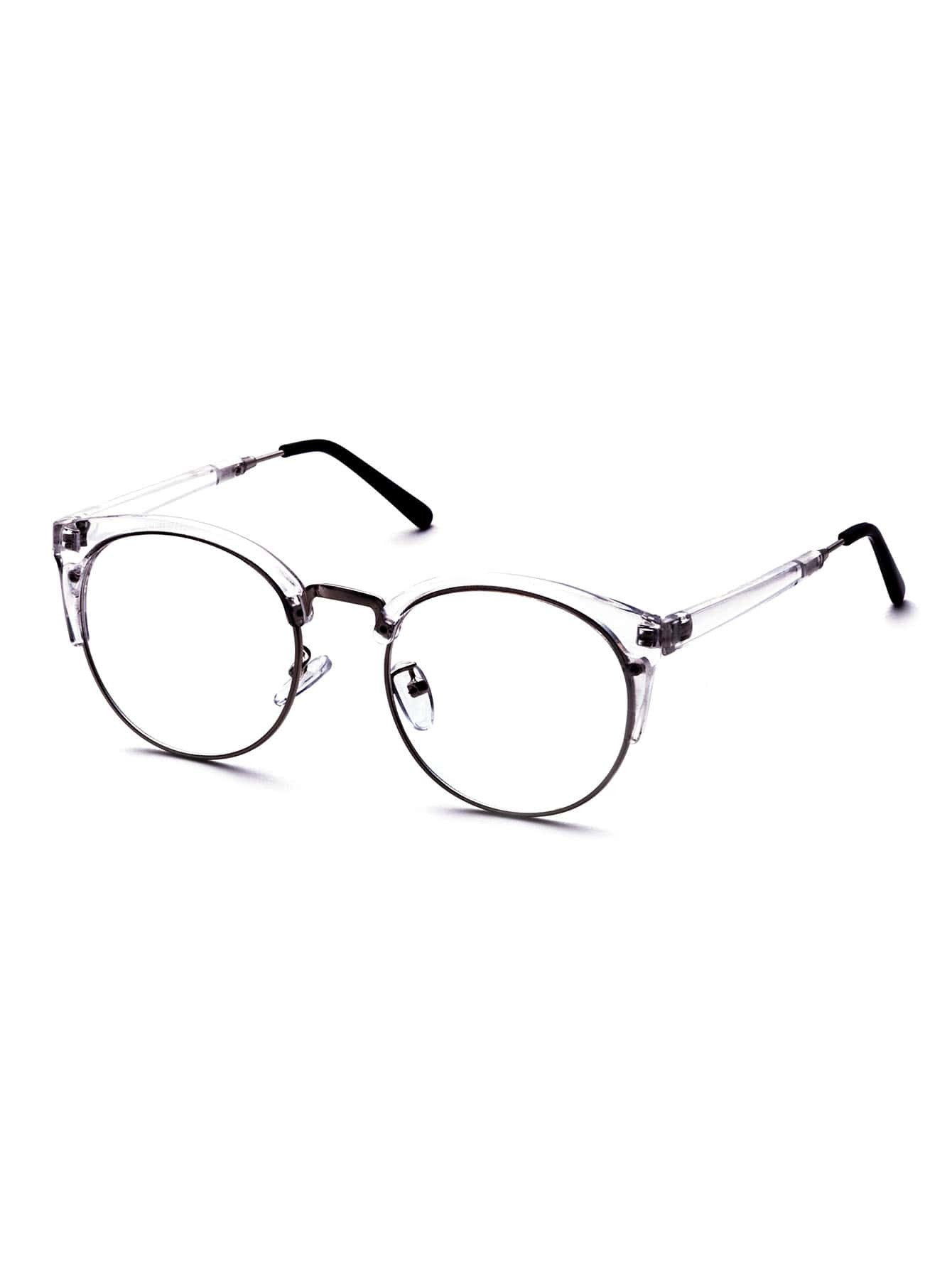 Clear Frame Semi Rimless Metal Trim Glasses EmmaCloth-Women Fast ...