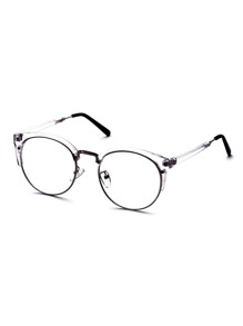 Clear Frame Semi Rimless Metal Trim Glasses