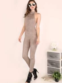 Grey Halter Neck Open Back Skinny Jumpsuit