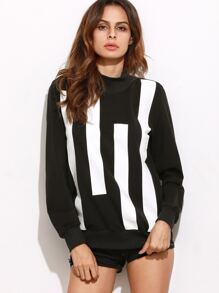 Black And White Stripe Front Pullover Sweatshirt