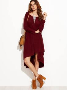 Burgundy Hooded High Low Babydoll Dress