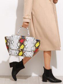 Multicolor Snakeskin Leather Flap Handbag With Strap