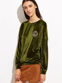Green Drop Shoulder Velvet Sweatshirt With Embroidered Patch
