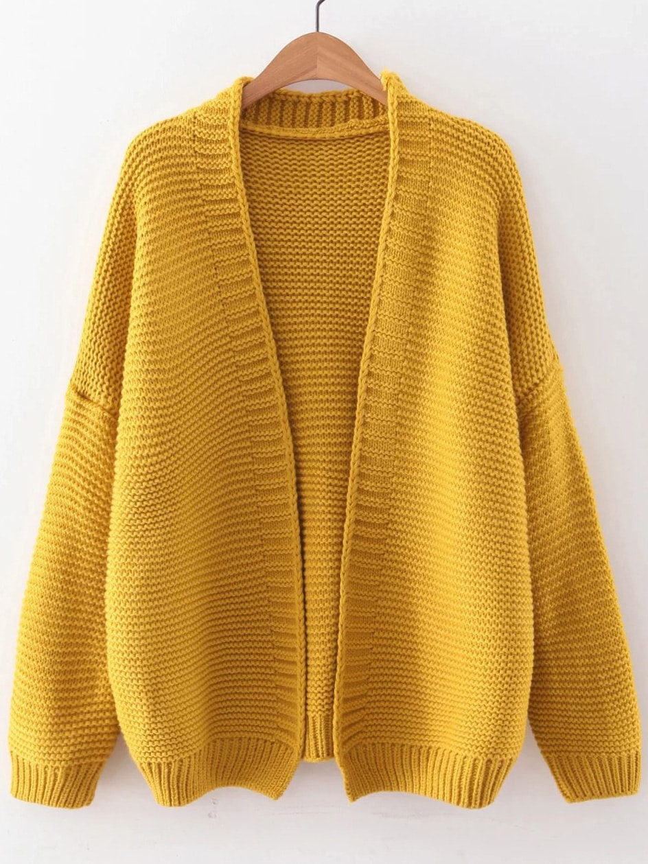 Yellow Open Front Drop Shoulder Cardigan EmmaCloth-Women Fast ...
