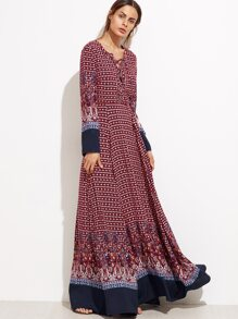 Burgundy Ornate Print Lace Front Contrast Trim Maxi Dress