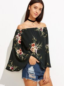 Rose Print Bell Sleeve Off The Shoulder Top