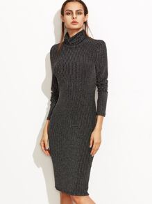Black Marled Knit Cowl Neck Ribbed Pencil Dress