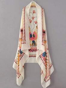 Beige Floral And Feather Print Scarf