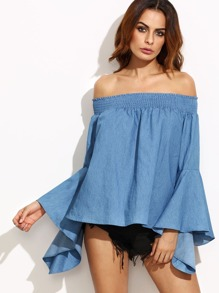 Blue Smocked Off The Shoulder Bell Sleeve Chambray Top