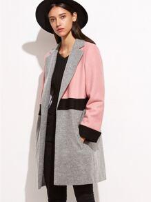 Color Block Notch Collar Open Front Coat