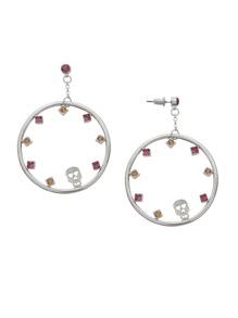 Silver Plated Circle Rhinestone Skull Drop Earrings