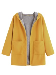 Yellow Drop Shoulder Pocket Hooded Coat