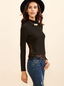 Black High Neck Lace Trim Ribbed T-shirt