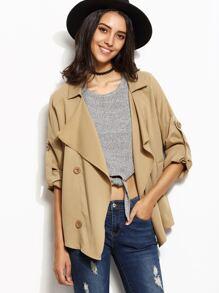 Khaki Drape Collar Roll Tab Sleeve Short Trench Coat