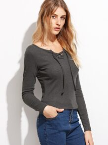 Grey Lace Up Ribbed Skinny Top