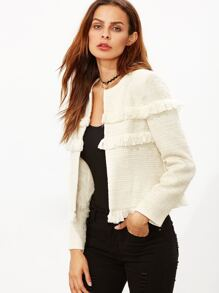 White Fringe Trim Collarless Tweed Blazer