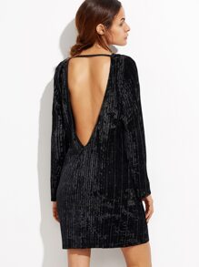Black Open Back Ribbed Velvet Dress