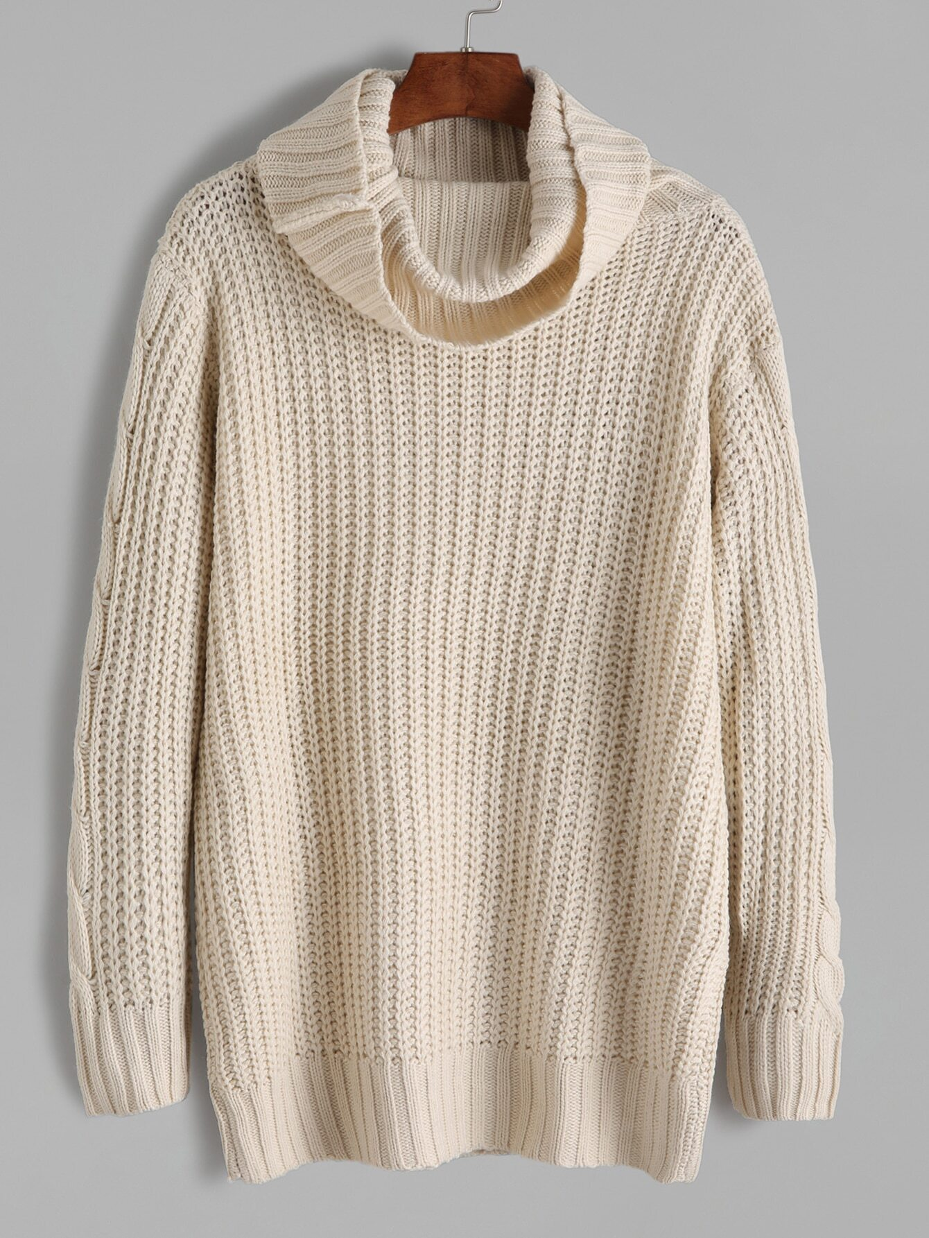 Apricot Cable Knit Turtleneck Sweater EmmaCloth-Women Fast Fashion ...