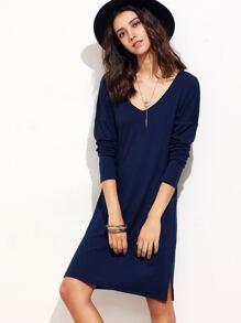 Navy Drop Shoulder Long Sleeve Side Slit Dress