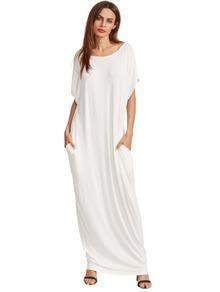 Beige Short Sleeve Shift Maxi Dress With Pocket