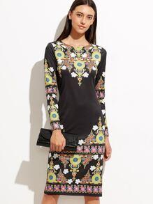 Black Vintage Print Slit Back Sheath Dress