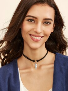 Black Leaf Pendant Cord Choker Necklace