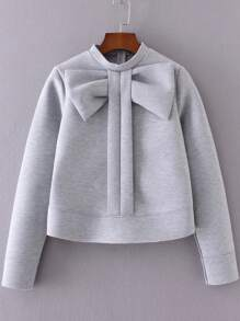 Grey Bow Embellished Crew Neck Sweatshirt