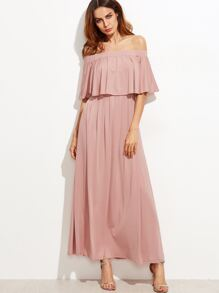 Pink Off The Shoulder Layered Ruffle Dress