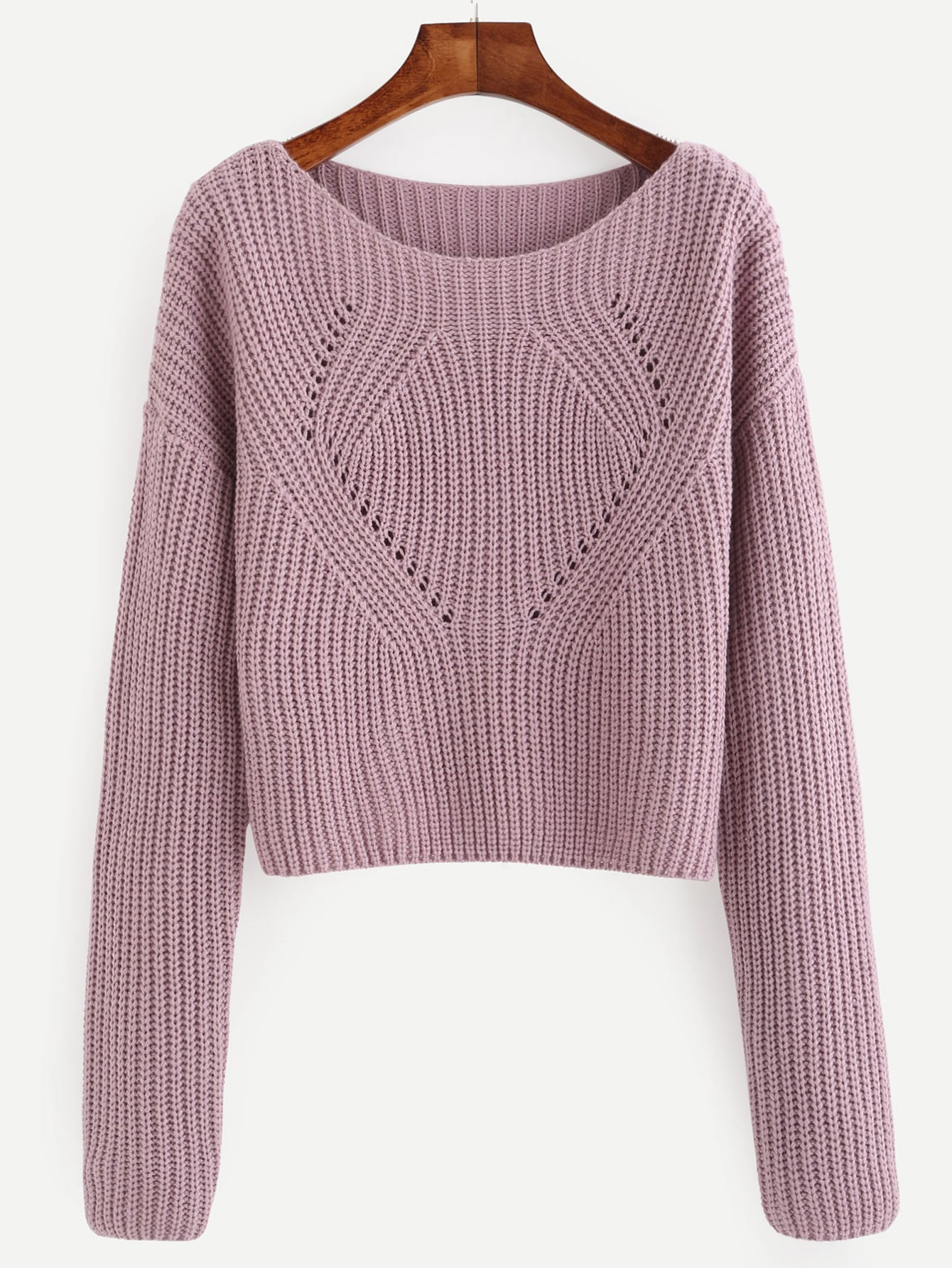 Pale Purple Hollow Out Long Sleeve Sweater EmmaCloth-Women Fast ...